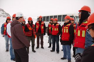 Web Mine engineer, Brandon Wilson, talks with Northwest Community College Mining Essentials students during a tour of the Endako Mine