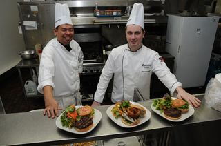 Erbert Operana and Rob Stach with new burgers (web)